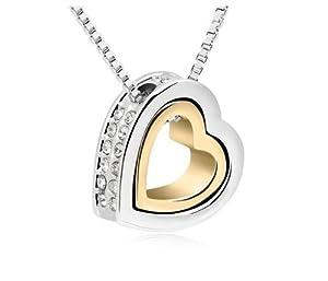 GoSparking Swarovski Elements Crystal Clear Double Heart 18K Rose / collar pendiente de la aleación de oro blanco plateado con el cristal austríaco para las mujeres