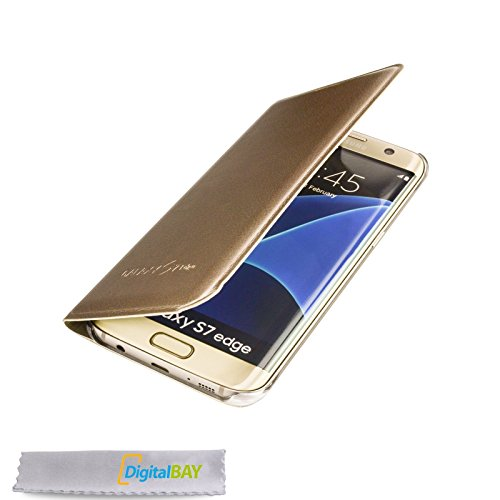 Custodia cover flip case GOLD per samsung galaxy S7 + pellicola protettiva + pannetto pulisci schermo firmato ®DigitalBay