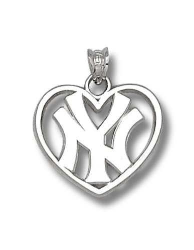 MLB New York Yankees Sterling Silver NY Heart Pendant