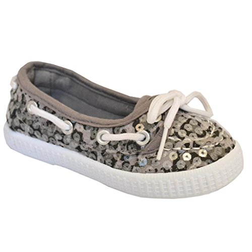 Twisted Toddler'S Champion Sequin Overlay Athletic Boat Shoe - Grey Leopard, Size 5