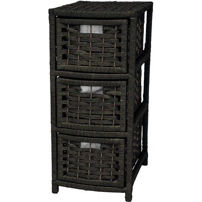 Oriental Furniture Urban Lightweight Practical Durable End Table Height, 25-Inch Rattan Style Natural Fiber 3 Drawer Narrow Chest, Black