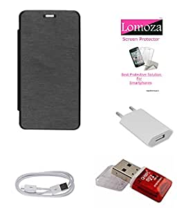 Lomoza Black Flip Cover for Micromax Bolt Q324, Tempered Glass, Charger, Data Cable, Card Reader