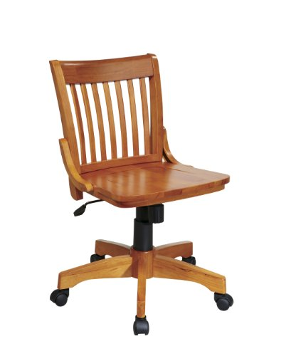 Deluxe Armless Wood Bankers Desk Chair with Wood Seat