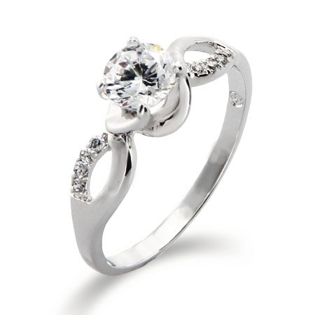 Infinity Design with Brilliant Cut CZ Promise Ring Size 7 (Sizes 5 6 7 9 Available)