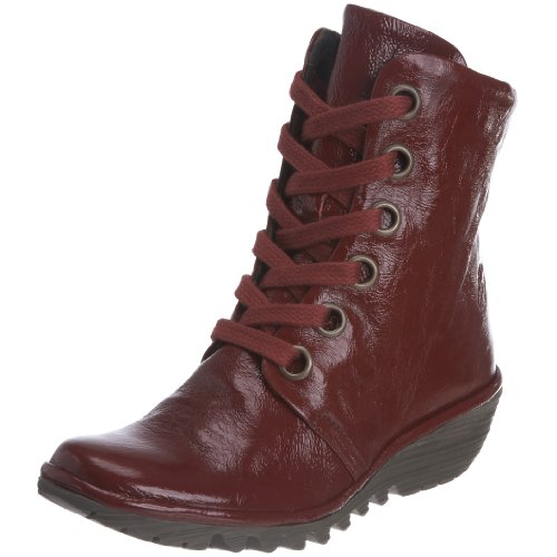Fly London Youth Yen Red Classic Boot Leather Patent P500094005 6 UK