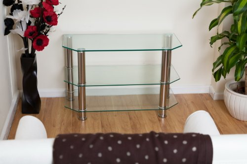 Clear Glass/stainless Steel Legs Tv Stand-ashley Tv Unit-we Deliver To Main Land UK, Exceptions Channel Islands, Scotish Highlands And Ireland.