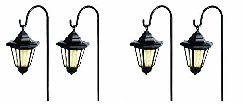 Solar Lantern Set of 4 Garden Lights on Crook Handle