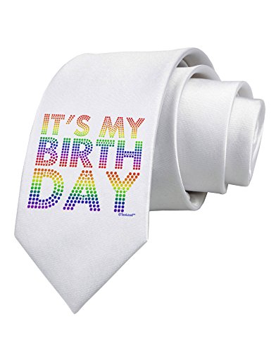 TooLoud It's My Birthday - Candy Colored Dots Printed White Neck Tie