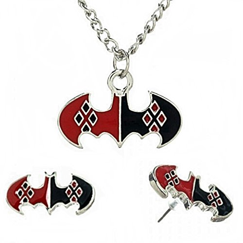 HARLEY QUINN Pattern on Batman Symbol PENDANT & EARRING SET