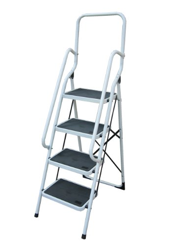 Foldable 4 Step Steel Non Slip Ladder tread Stepladder With Safety Side Rail Handrail Home Kitchen