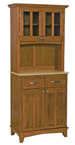 Cheap Buffet Hutch with Natural Wood Top in Cottage Oak Finish (VF_HY-5001-0061-62)