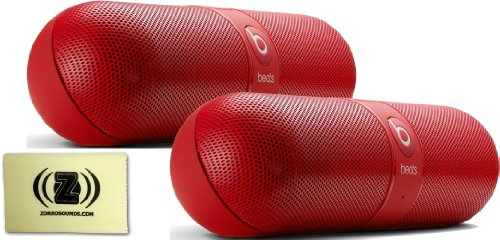Beats By Dr. Dre Pill 2.0 Red Portable Speaker Pair Bundle With Custom Design Zorro Sounds Cleaning Cloth
