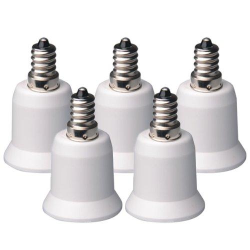 5-Pack E12 to E26 / E27 Adapter - Converts Chandelier Socket (E12) to Medium Socket (E26/E27)