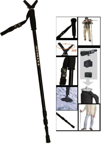"Extreme Deluxe Camera / Video Camera / Spotting Scope / Binoculars Stabilizer Height Adjustable Collapsible & Shock Absorbing Stick Monopod Telescopic Pole Kit With Integrated Camera Mount (29"" - 63"" )"