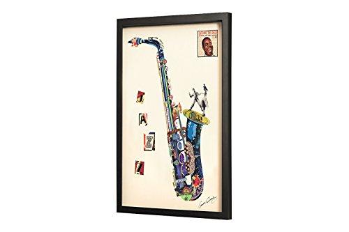 Trendiges-KunstLoft-Bild-Frame-Art-3D-Sax-on-the-Beach-61x81cm-Handgefertigte-Vintage-Wanddeko-aus-Papier-Saxophon-Musik-Jazz-Design-Wandbild-Collage-Art-moderne-Kunst-Retro-im-Bilderrahmen