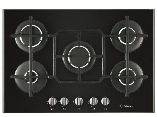 Scholtes-TV-750-GH-BK-plaques-Intgr-Gaz-verre-cramique-Noir-Rotatif-En-haut-devant