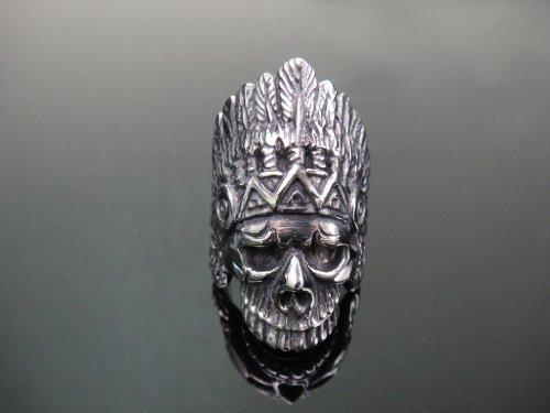 The Biker Metal 316L Stainless Steel Indian Skull Head Ring for Harley Rider Motor Biker TR-135 (13)