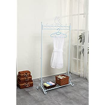 Chic and Sturdy Garment Rack - Clothing Racks with Bottom Shelf for Shoes – Metal Hanging Clothes Stand (White)