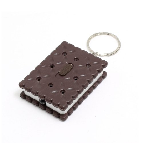 Chocolate Color Biscuits Shaped Shell White Led Flashlight Lamp Pendant Keyring