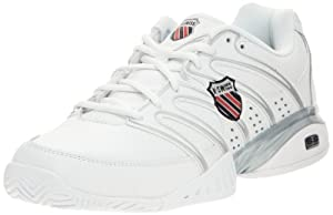 K-Swiss Men's Approach II Tennis Shoe,White/Black/Silver,9.5 M