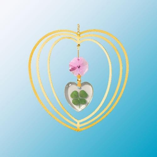 24K Gold Plated Hanging Sun Catcher Or Ornament..... Heart Shaped Four Leaf Clover & Swarovski Austrian Crystals In A Heart front-713049