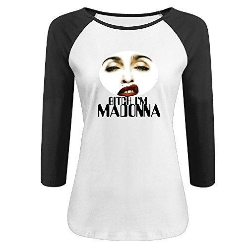[Hotboy19 Women's Bitch I'm Madonna Raglan 3/4 Sleeve T-Shirt Black Size M] (Johnny Depp Wolf Costume)