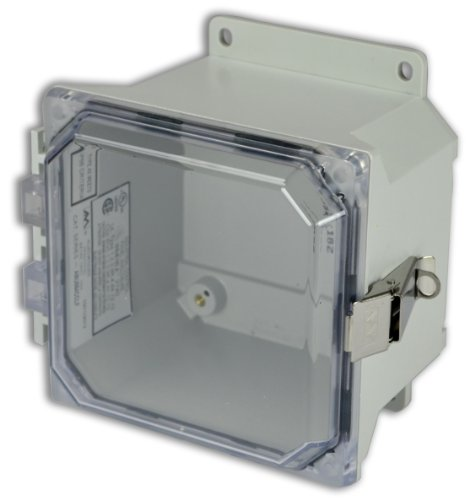 Allied Moulded Amu664Cclf Ultraline Series Fiberglass Jic Size Junction Box, Snap Latch With Mounting Flanges And Hinged Clear Polycarbonate Cover