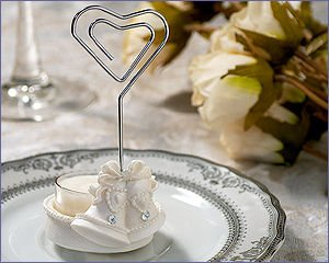 Place Card/Candle Holder With T-Light Wedding Bells & Clear Stones - Wedding Party Favors