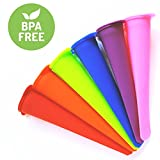 Popsicle Molds and Ice Pop Maker with Attached Lids - BPA Free - Set of 6 Reusable Silicone Tubes by SimplyPOP | BONUS: Our Favorite Popsicle Recipes Included | 100% Satisfaction Guarantee