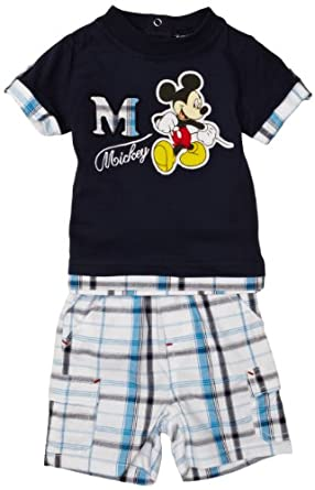Mickey Mouse ME0095 Baby Boy's Outfit Set Blue/Blue Check/Optical White 3-6 Months
