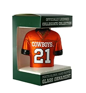 NCAA Oklahoma State Cowboys #21 Orange Glass Football Jersey Ornament