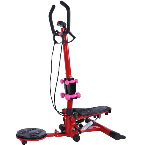 Soozier Aerobic Waist Twister/Stepper Fitness Machine w/ Dumbbells