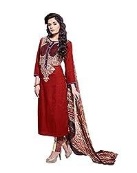 Pinkshink Premium Cotton Red Dress Material