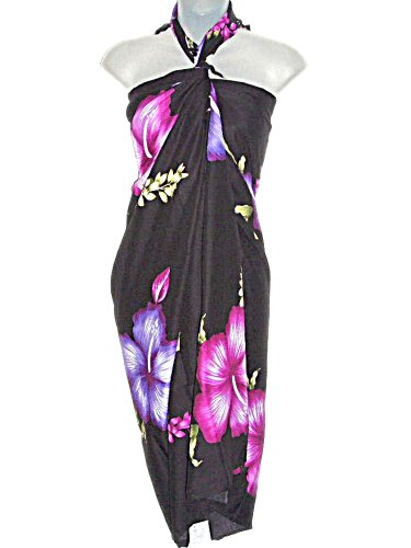 HAWAIIAN BLACK LONG SARONG W/ JUMBO PURPLE HIBISCUS