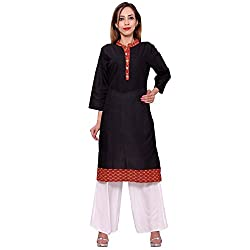 MSONS Women's Black & Mehroon Stripes Long Kurti in Bombay Dyeing Cotton Fabric