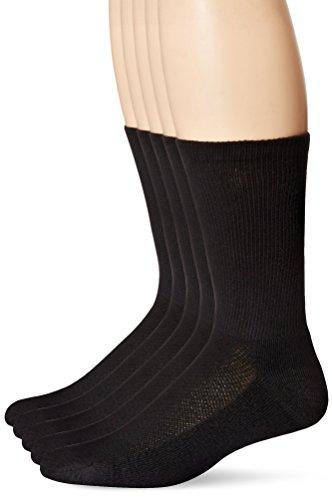 Hanes Men's 5 Pack Ultimate X-Temp Crew Socks, Black, 10-13 (Shoe Size 6-12)