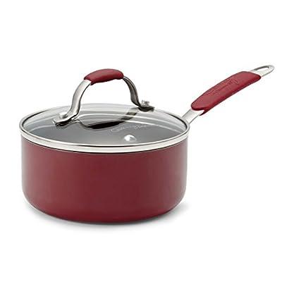 Calphalon Enamel Nonstick Cookware Sauce Pan, 1 qt., Red