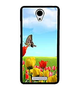 Butterfly on Flowers 2D Hard Polycarbonate Designer Back Case Cover for Xiaomi Redmi Note 2 :: Redmi Note 2 Prime
