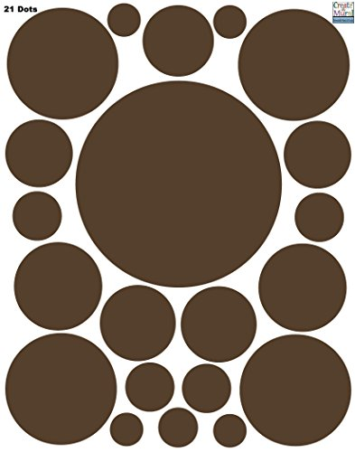 Wall Sticker Dots (21) Chocolate Brown Polka Dot Wall Decal Appliques - 1