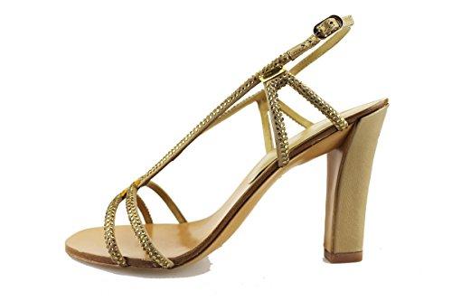 LOLA CRUZ sandali donna oro tessuto pelle strass AG309 (37 EU)