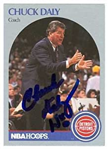 Chuck Daly autographed basketball card (Detroit Pistons) 1990 NBA Hoops #312 by Autograph Warehouse