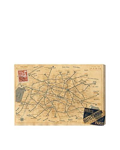 Oliver Gal 1956 Metro Map Of Paris Canvas Art, Multi, 16 x 24