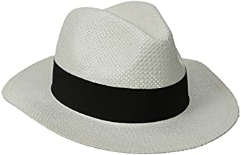D&Y Women's Paper with Grosgrain Band Panama Hat, White/Black, One Size