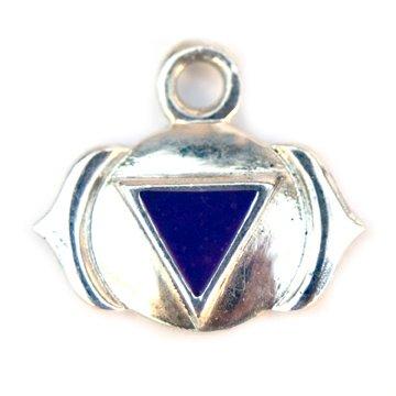 Sterling Silver Third Eye Chakra Charm Purple Enamel Charm 6th