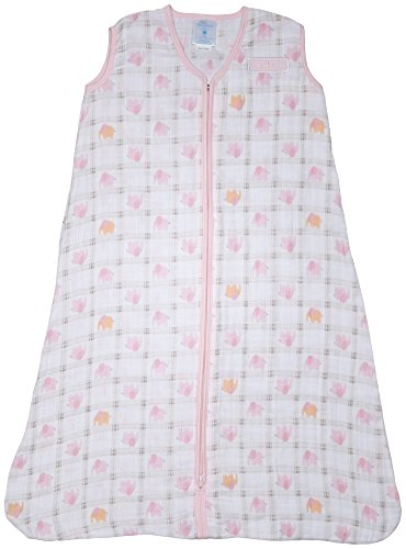 Halo Sleep Sack Wearable Cotton Muslin Blanket, Elephant Plaid, Large - 1