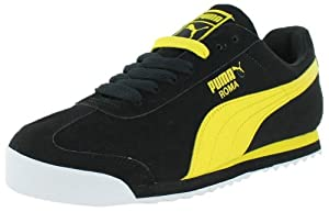 PUMA Men's Roma SL NBK 2 Sneaker,Black/Vibrant Yellow,10.5 M US