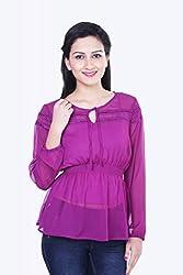 Skatti Womens Chiffon Long Sleeve Top (Sk_138_15Purplegirl_L _Purple _Large)