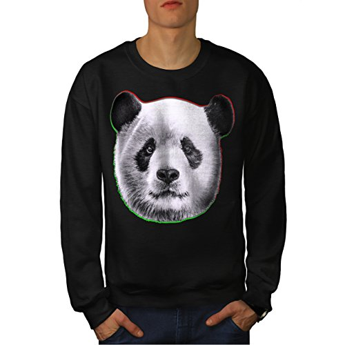 cracked-wood-panda-timber-style-men-new-black-xl-sweatshirt-wellcoda