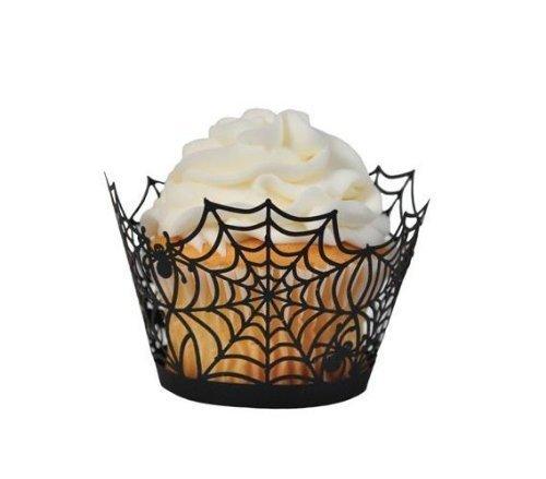 ZUOYETYK 24/50/100 PCS Einfach und Stilvoll Spiderweb Muster Kuchen Verpackung Backen Cup Muffin backen Kuchen Box für Hochzeit Geburtstags Party Halloween Kuchen Dekoration(24 PCS)