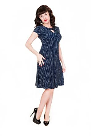 LINDY BOP CLASSY BLUE POLKA DOT VINTAGE WW2 LANDGIRL 1940s 1950s PINUP RETRO TEA DRESS (8)